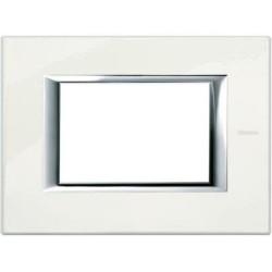 Bticino Axolute HA4803BG - Placca quadra metallo 3M colore bianco Limoges