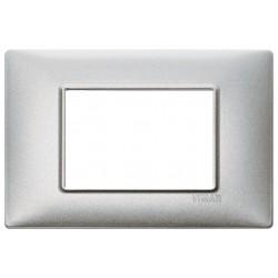 Vimar Plana - 14653.71 - Placca 3 moduli, metallo, argento metallizzato
