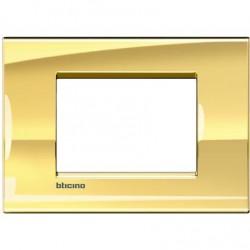 Bticino Livinglight - LNA4803OA - Placca quadra 3 moduli - oro freddo
